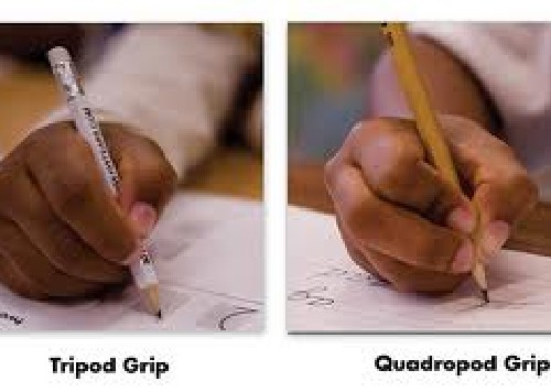 It is important for your child to have a useful grasp to become efficient with writing and coloring. Two grips are illustrated: Tripod Grip and Quadropod Grip. An occupational therapist can help to evaluate fine motor skills of your child and recommend if a grip is