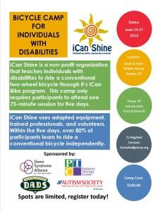 iCan Shine Bike Camp Marketing Flyer