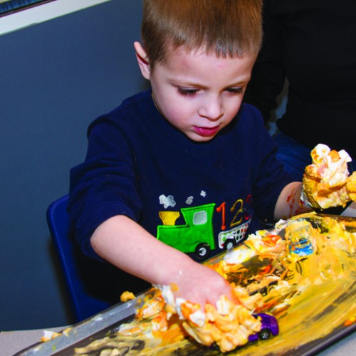 Tactile play activities are used in Pediatric Therapy Center's occupational therapy program to help a child further develop sensory integration and sensory motor skills.
