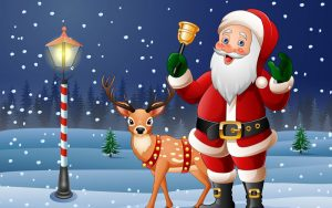 Illustration of Santa ringing a bell with a Reindeer.